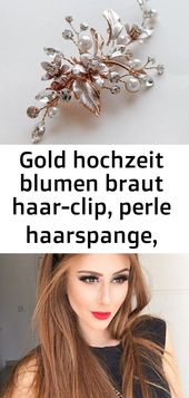 Gold wedding flowers bridal hair clip, pearl hair clip, rhinestone hair clip, hair clip, gold headsc 4