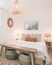 Soft beach boho bedroom decor with muted pastels, woven accents and beach print …  – Cali