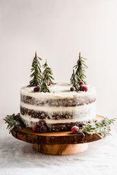 Lebkuchen-Kuchen mit dem Mascarpone-Frischkäse-Bereifen   – Food