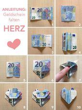 Tutorial/Anleitung: Geld falten Herzen – DIY Hochzeitsgeschenk im Bilderrahmen