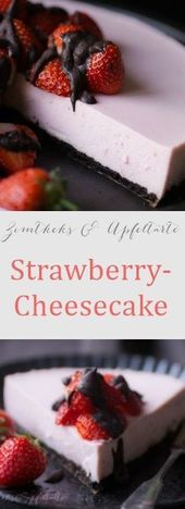 Strawberry-Cheesecake mit Oreo-Boden – #mit #OreoBoden #StrawberryCheesecake – #…