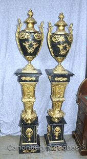 – Gorgeous pair of French Empire style marble urns…