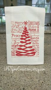 Merry Christmas Word Art Flour Sack Towels, Holiday Tea Towels, Printed Towels, Farmhouse Kitchen Linens, Guest Hand Towels, Hostess Gifts