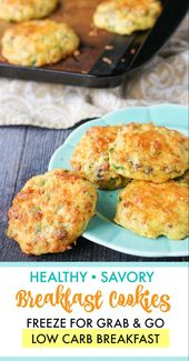 Healthy Savory Breakfast Cookies – freezable low carb breakfast!