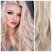 Ash Blonde with Platinum Blonde Highlights Clip In Hair Extensions 24″ Remy Human Hair ONLY $68.52