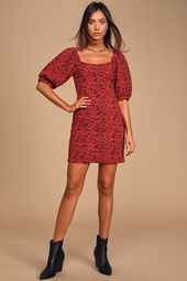 Sunset Red Multi Print Puff Sleeve Bodycon Mini Dress. | Lulus | The Free People…