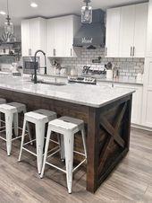 modern farmhouse style neutral kitchen subway tile…