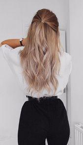 Half up half down hairstyle #hair #healthyhair #haircuts