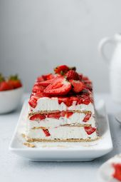 An easy summer dessert layered with fresh berries, cream cheese whip and graham …