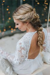 Wedding hairstyles curls half open with veil