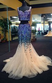 Unbelievable Luxury Beading Prom Dress,Custom Made,Spaghetti Straps Evening Dress,Tulle Party Dress