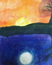 Watercolor Watercolors Paisaje Paisajes Dia Noche Day Night Dibujos Dibujo Draw Drawing Watercolor Watercolors Paisaje Paisaj Art Painting Day
