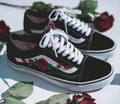 Vans Old Skool Custom – Rose Patch – All Sizes – Unisex – Sneaker Shoes [Embroidery Sk8 Hi Nike Air Force Lv Roses Flowers]