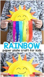 Pappteller Sun und Rainbow Craft