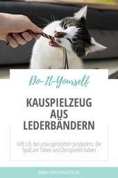 Brustspielzeug aus Lederriemen   – Katzenmöbel DIY selber machen