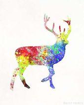 Deer Art, Holiday Decor, Deer Poster, Gift For Her, Gift Idea, Deer Print, Deer Decor, Baby Shower Gift, Nursery Wall Art, Valentines Day