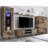 Living room extension wall in reclaimed wood look and anthracite Industry Style (4-part) Ho …
