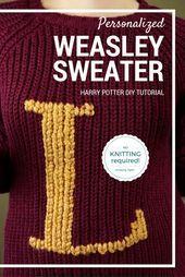 Gestalte Deinen Eigenen Weasley Pullover Mit Einem Vorhandenen Muggelpullover Ohne Pullover Stricken Harry Potter Stricken Harry Potter Hakeln