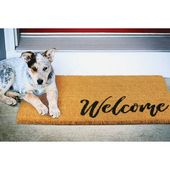 mDesign Coir Entryway Indoor, Outdoor Doormat, Navy Blue/Brown, 17 x 30