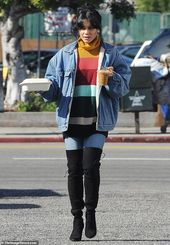 Vanessa Hudgens is a festival of colors in bright sweater dress in LA