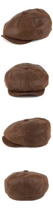 Mens Hats 163619: Jaxon Brown Leather Newsboy Cap 1920S Peaky Blinders Style Gat…