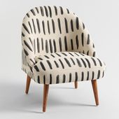 Charcoal Gray and Ivory Dash Print Noemi Tub Chair by World Market