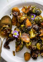 Simple Oven Roasted Brussels Sprouts covered in a Honey Soy glaze. This five ing…   – Recipes