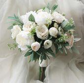 Seide Hochzeitsstrauß, Boho Bouquet, Brautstrauß, Seidenblumen, künstliche Bouquet, Hochzeitsblumen, Weiß, Creme und Grün, Olive Laub   – Brautstrauss