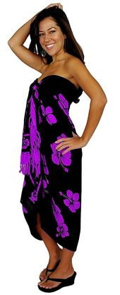 1 World Sarongs Womens Hibiscus Flower Swimsuit Sarong in your choice of color – Purple/Black