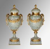 A Pair Of Green Marble Urns