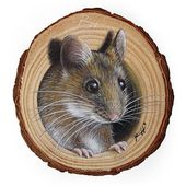 A Sweet Mouse Coming Out from Its Lair, a Unique Wood Slice Painting by Roberto Rizzo! Original Art 100% Hand Painted