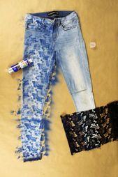 Einfache DIY Upcycle Jeans Refashion Tutorial. Verwenden Sie Spitze, um eine Schablone zu erstellen