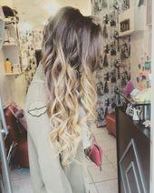 Curly Hellbraun bis Blond Ombre