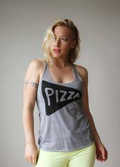 Das Pizza-Liebhaber-Trägershirt der Frauen, Siebdruckpizzascheibe razorback Trägershirtgeschenk für den lustigen Läufer sagen