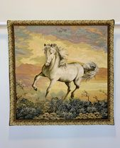 Horse Tapestry 26×26 Inches / White Horse / Woven Art / Running Horse / Woven Upholstery