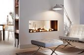 see-through fireplace. direct vent fireplace. modern gas fireplace
