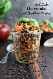 Herbstlicher Linsensalat mit Basilikumdressing   – Gesunde Salate | Rezepte