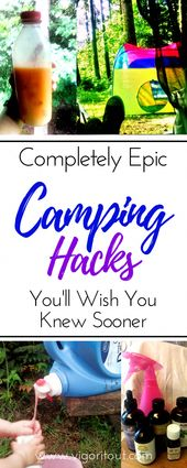 This roundup of great camping hacks will make camping with kids a breeze! 10 gre…