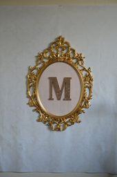 Large Oval Framed Letter Gold Baroque Frame Blush Pink Silk Framed Letters Baroque Frames Gold Baroque