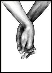 Watercolor Hands No1 Poster in der Gruppe Poster /…