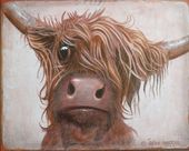 Red Scottish Highland Cow Shabby Chic Wooden Sign