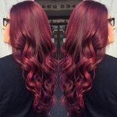 Niedliche rote violette Haarfarbe #boxbraidsburgunder –  – #Kurzhaarfrisuren