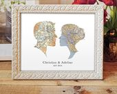 Cameo Map Print, Wedding or Engagement Gift, Choose any two cities, Custom Wedding Gift, Engagement Print