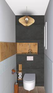 WC attenantes à une suite parentale. Matériaux naturels, bois ardoise.