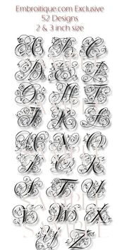 """Maisie Monogram Font Set – 2 """"& 3"""" – – Maschinenstickerei Schriftart Alphabet Buchstaben – sofortige E-Mail-Lieferung Download Maschinenstickerei Design"""