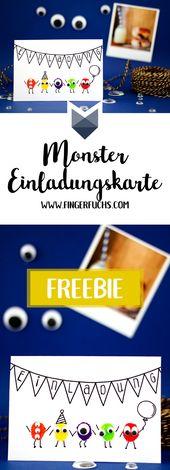 Stellen Sie Ihre eigene Monstergeburtstagseinladungskarte her   – Malen & Zeichnen mit Kindern