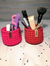 Mini baskets – Little storage baskets – Make up basket – Small Crochet Basket – …