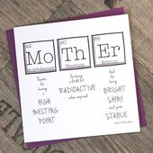 Printable Mother's Day Card | Greetings Card Periodic Table | For Her Birthday | Unique Mother's Day Card | Funny Birthday Card | 5 x 7 inches