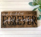 Engagement photo sign, rustic wedding sign, bridal shower gift, personalized engagement sign, engage   – Products