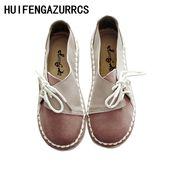 HUIFENGAZURRCS-Hot, 2019 hausgemachte handgemachte echtes Leder Damenschuhe, Retro Kunst runden Kopf weichen Boden flache Schuhe, 3 Farben